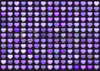 3d collection floating love heart in multiple purple on deep pur