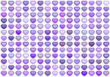 3d collection floating love heart in multiple purple