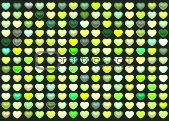 3d collection floating love heart in multiple green on deep gree