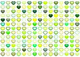 3d collection floating love heart in multiple green on white