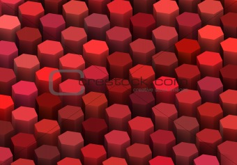 abstract 3d render hexagon backdrop in red colors