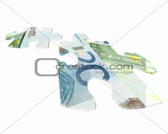 two pieces of Euro banknotes puzzle
