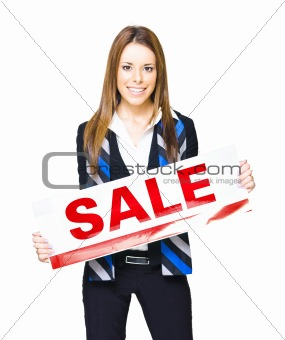 Sales And Marketing Professional Displaying Sale Sign