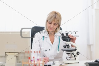 Middle age doctor woman working with microscope