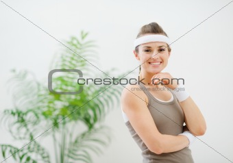 Portrait of happy healthy woman in sportswear