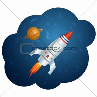 Vector rocket in space. This vector image is fully editable.