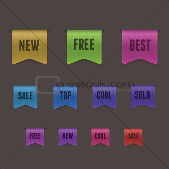 Set of 9 quality textured ribbons. This vector image is fully editable.