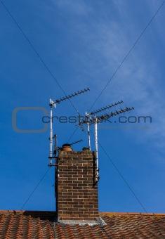 Television aerials on chimney