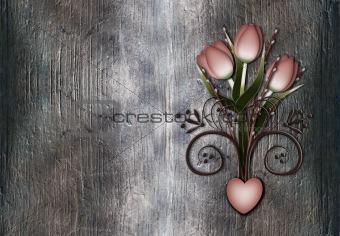 Grunge background with retro style tulips