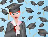 Female Graduation Illustration