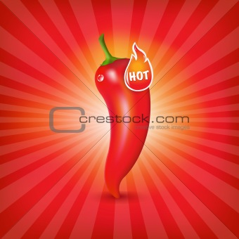 Sunburst Background With Red Hot Pepper