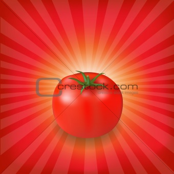 Sunburst Background With Red Tomato