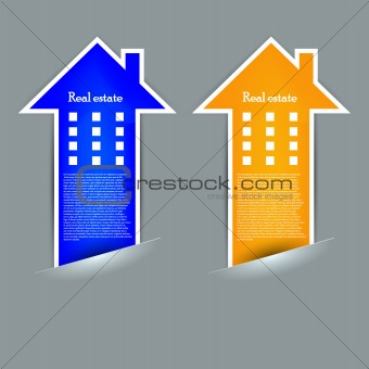 Vector real estate label on gray background. Eps10