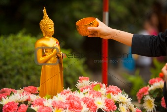 Songkran Bathing Buddha Statue Arm