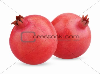 Two ripe pomegranate fruits