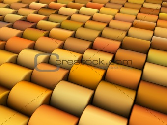 abstract 3d render multiple yellow orange cylinder backdrop patt