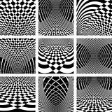 Optical illusion backgrounds set.