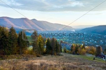 Autumn mountain village and sunrise
