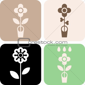 Flower in pot - vector icon