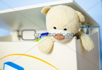 Teddy bear escaping from toy box.