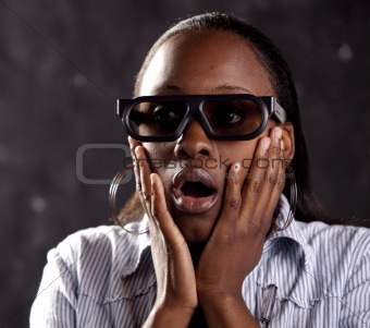 South African woman watching 3D movie