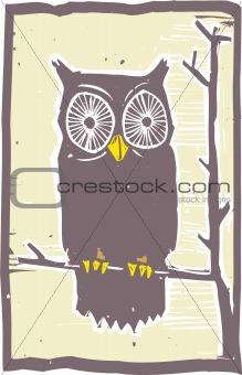 Owl Woodblock