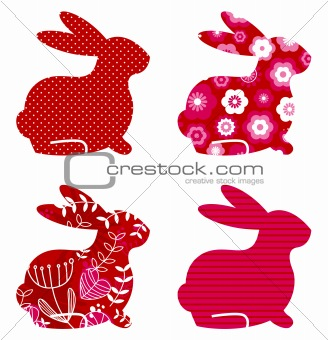 Abstract spring bunny set isolated on white ( red )