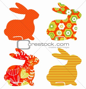 Abstract floral bunnies set isolated on white