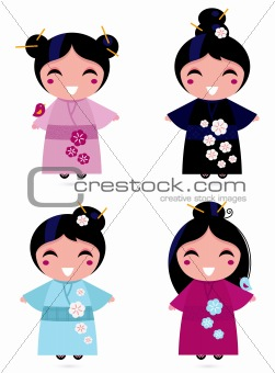 Cute Geisha set isolated on white