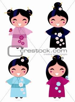 Cute Geisha set isolated on white