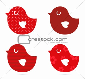 Birds vector set isolated on white ( red )