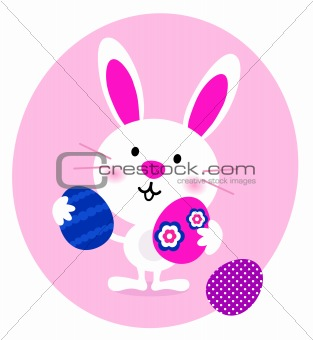 Cartoon Bunny with easter Eggs isolated on white