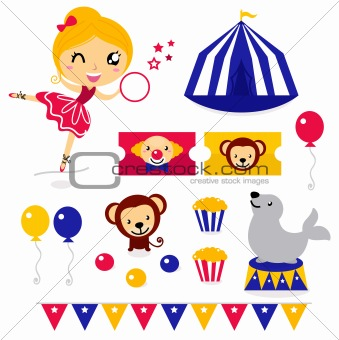 Fun circus icons and elements set isolated on white