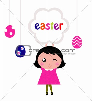 Cute little girl holding easter banner