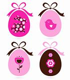 Retro easter eggs set isolated on white ( pink &amp; brown )