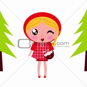 Cute little Red riding hood in a Forest