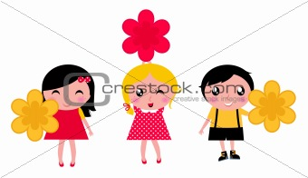 Little cute kids with flowers isolated on white