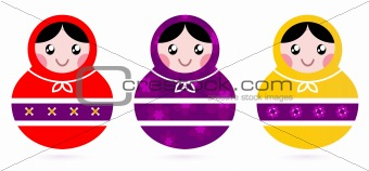 Russian Matryoshka Dolls collection isolated on white