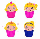 Cute little vector princess / girls cakes set