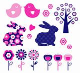 Spring and easter design elements set ( vector )