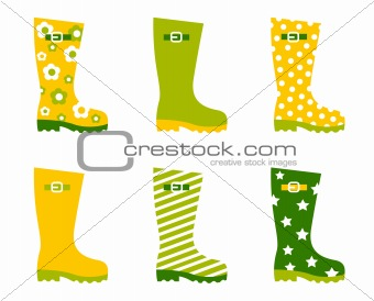 Spring wellington rain boots set isolated on white