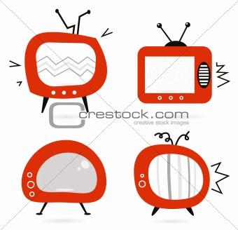 Old retro TV collection isolated on white