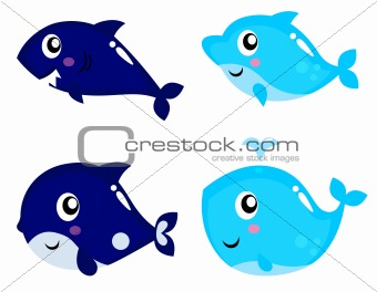 Sea life cartoon set isolated on white