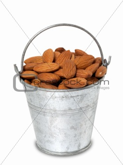 Tin bucket with almonds