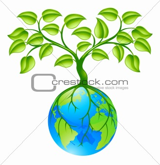 Planet earth globe with tree concept