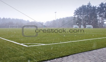 Football field in spring
