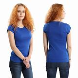 Pretty female wearing blank blue shirt