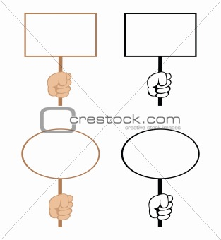 Cartoon hands with empty rectangular and ellipse blank signs. Vector.