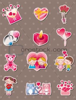 cartoon Valentine's Day stickers