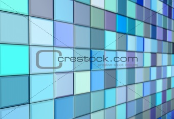 3d render tiled mosaic blue purple wall pavement
